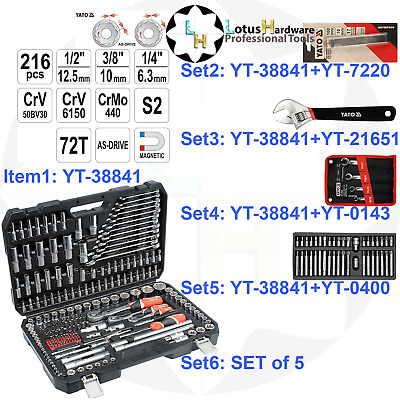 "Ratchet Socket Set 1/2"" 3/8"" 1/4"" 216pcs AS-DRIVE Yato YT-38841 + Various SETS"