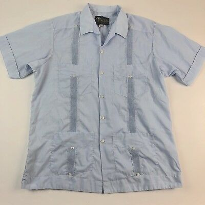 Vintage Mayaland Mens Short Sleeve Button Up Shirt Blue Made In Mexico Size L
