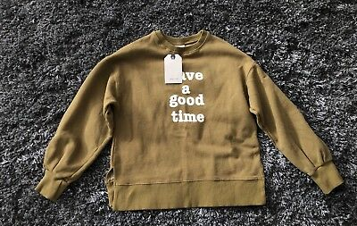 New With Tag Zara Kids Olive Green Graphic Sweater Pullover