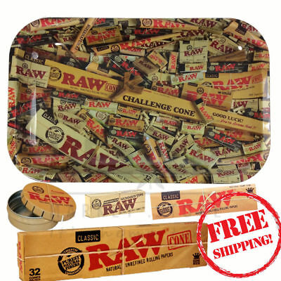 Raw Bundle Mix Small Tray Click Clack  Rolling Paper Tips and Cones