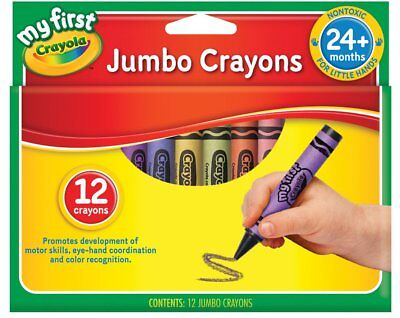 My First Jumbo Size Crayons 12 Pack Extra Large kids Coloring Craft Art Tool