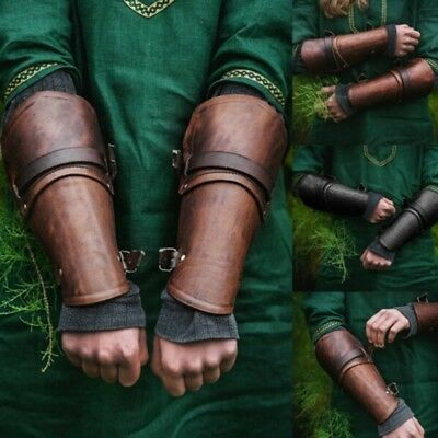 New Ancient Medieval Roman Arm Guard Bracers Leather Forearm Guards Adjustable