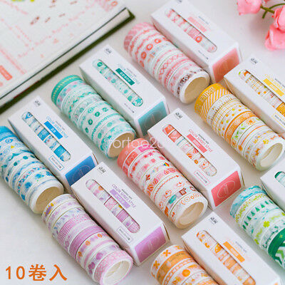 10pcs/Box Washi Tape Rolls Decorative Sticky Paper Masking Adhesive Planner Tape