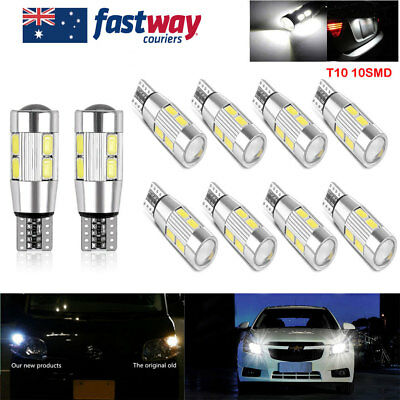 10PCS Canbus T10 Wedge 10SMD Parker Number Plate LED Bulb W5W 194 168 131 6000K