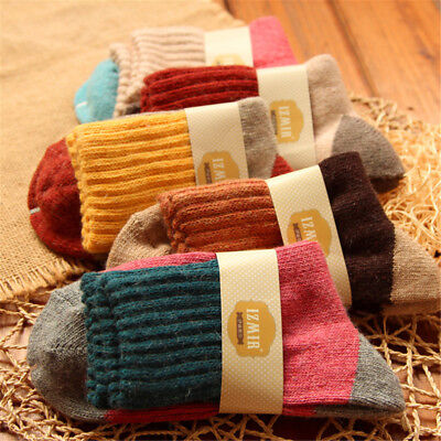 5 pairs Mongolia Cashmere Rabbit Hair Women's Girls Socks-Luxury Warm Wool New