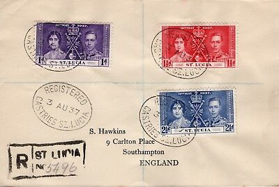 St Lucia1937 KGVI Coronation set used on registered cover (not fdc)