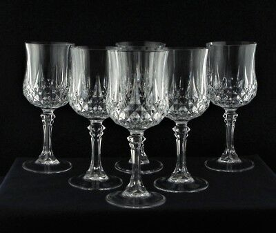 "6 Crystal D'Arques Longchamp 7.1/4"" Tall Large Wine Glasses"
