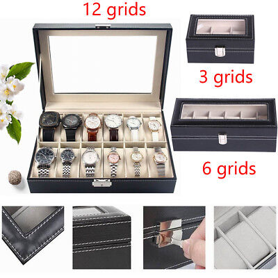 3/6/12 Slot Leather Watches Box Display Case Organizer Top Glass Jewelry Storage