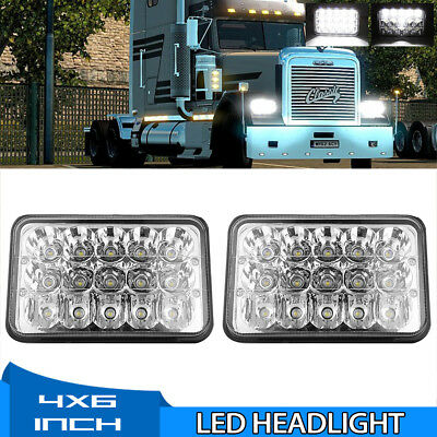 """Pair 4x6"""" LED Headlights Sealed Headlamp High/Low Beam For Freightliner FLD112"""
