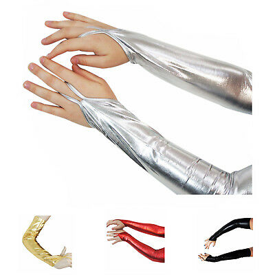 Arm Warmer Goth Wet Look Shiny Metallic Fingerless Gloves Clubwear Costume TG