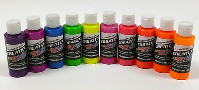 Createx kit 10 colori fluorescenti aerografo 60 ML (KIT10FLUO)