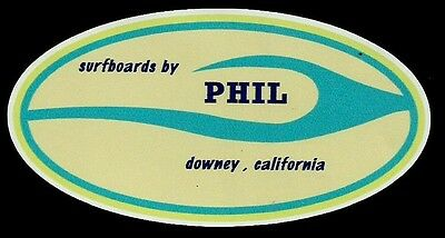 """""""SURFBOARDS BY PHIL - DOWNEY CALIFORNIA USA"""" Sticker Decal SURFING 1960's Retro"""