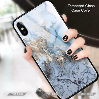 For iPhone Xs Max Case Luxury Marble Style Tempered Glass Soft Bumper Cover XR
