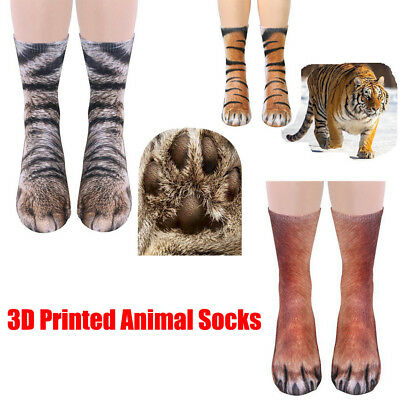 Novelty Unisex 3D Printed Animal Paw Hoof Tube Crew Cotton Stretchy Soft Socks E