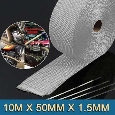 White EXHAUST HEAT WRAP TITANIUM 10M X 50MM + STAINLESS TIES INSULATION AU