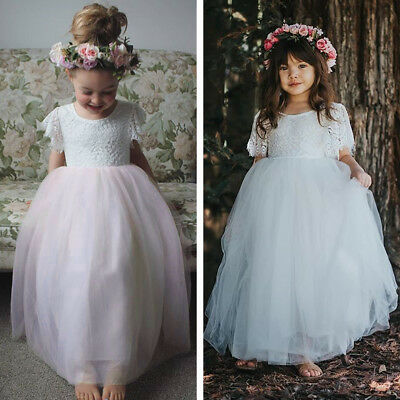 Kid Baby Flower Girl Lace Tulle Party Wedding Bridesmaid Gown Prom Tutu Dress CA