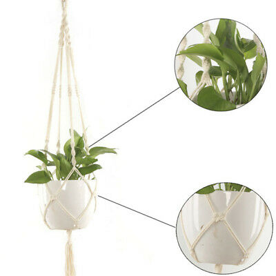 Hanging Pot Holder Macrame Braided Plant Hanger Planter Basket Jute Rope KJU