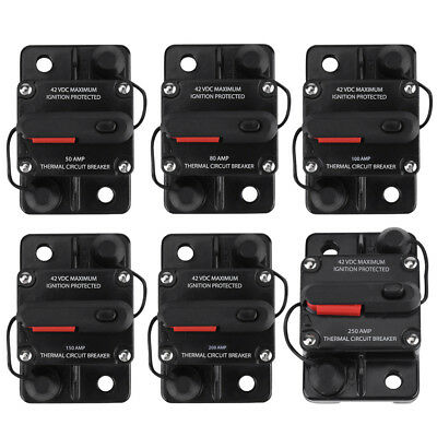 50-250A AMP Circuit Breaker Car Marine Stereo Audio Inline Replace Fuse 12-24V