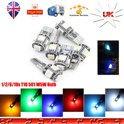 T10 501 W5W Error Free Canbus Car LED Bulb Side Lamp 5 SMD Parking Lights