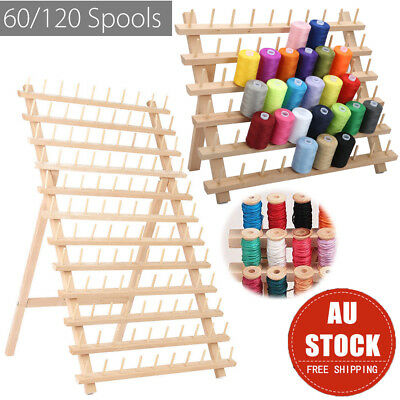 60/120 Wood Spools Sewing Thread Rack Stand Organizer Embroidery Storage Holder