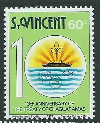 ST.VINCENT SG720w 1983 60c TREATY OF CHAGUARAMAS WMK CROWN TO LEFT OF CA. MNH