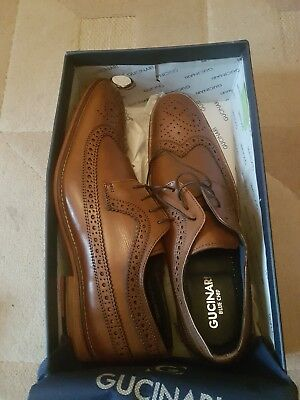 442378dbd7ce1 GUCINARI MEN S BROWN Leather Slip On Brogues Shoes Size Uk 9 Eu 43 ...