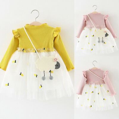 Toddler Baby Kids Girls Knitted Princess Cotton Tulle Dress Full Sleeve Clothes