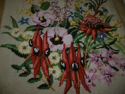 Floral needlepoint tapestry picture completed, very good condition