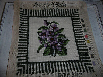 Needleworks violet needlepoint tapestry picture completed, good condition