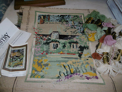 Country cottage needlepoint tapestry picture almost completed + wools