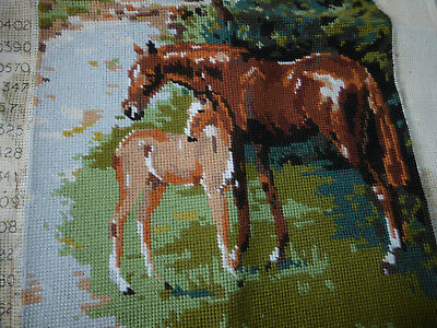 Vintage completed needlepoint tapestry picture horses good condition