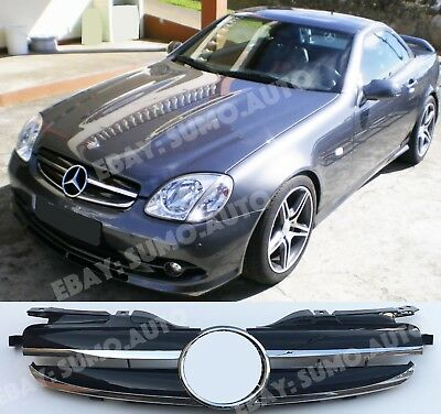 Mercedes-Benz R170 grille,1996-04,twin fins,AMG look,BLACK,SLK230;SLK320,SLK200