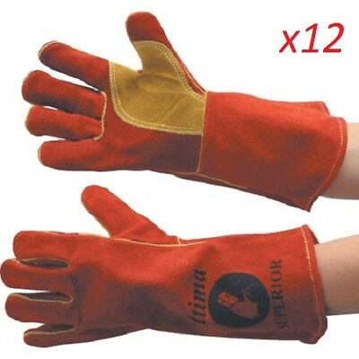 Ultima Red & Gold Heavy Duty Welders Gauntlets - Pack Of 12 Pairs