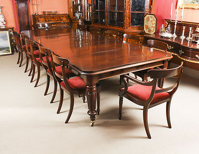 Antique William IV Mahogany Dining Table & 12  Bar Back Dining Chairs 19th C