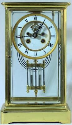 Tiffany & Co Antique French 8 Day Crystal Regulator Open Escapement Mantle Clock