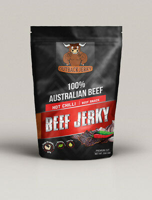 BEEF JERKY HOT CHILLI 200G Hi PROTEIN LOW CARBOHYDRATE PRESERVATIVE FREE SNACK