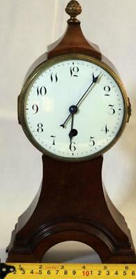 Antique English 8 Day Balloon Head Mahogany Mantle Clock