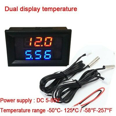 Dual digital thermometer display LED FOR 5v 12v 24v 48v 60v 72v battery car
