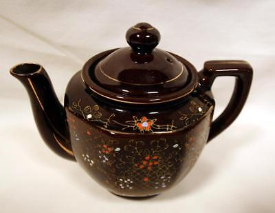 Vintage TEAPOT Made In Japan GLOSS BROWN GLAZE Hand Painted Ceramic MIJ