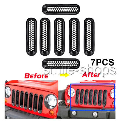 7pcs Matte Black Front Insert Mesh Grille Trim Cover For Jeep Wrangler JK 07-17