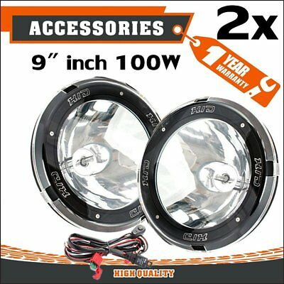 "Pair 9"" Inch 12V 100W Hid Driving Lights Xenon Spotlight Offroad 4Wd SUV Ute FT"