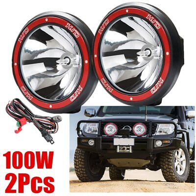 "Pair 9"" inch 100W HID Driving Lights Xenon Spotlights Off Road 4x4 Truck 12V FT"