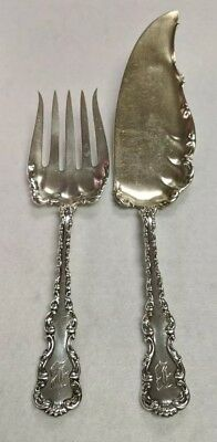 Whiting Louis XV Sterling Silver 2 pc Fish Fork & Knife Serving Set Monogram B