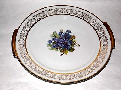 BA ARIA Platter Gold Trim w/Grapes Serving Plate Collector Germany Free Shipping