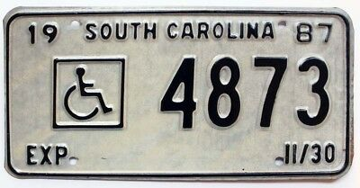 South Carolina 1987 HANDICAPPED License Plate, 4873, Embossed Wheelchair Symbol