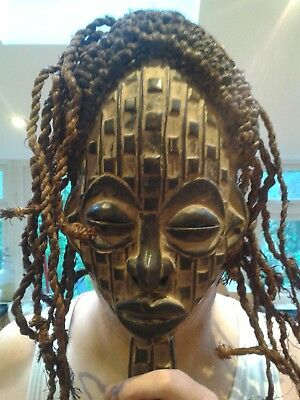 Unique And Old Antique Vintage African Chief Head Wooden Carving Statue Figurine