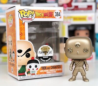 Funko Pop GOLD Metallic Dragon Ball Z TIEN CHIAOTZU Funhouse Custom Exclusive