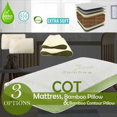 Baby Cot Bed Breathable Mattress Bamboo Cover Foam Mattress & Memory Foam Pillow
