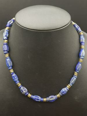 Ancient Unique Lapis lazuli carved Stone Beads Necklace