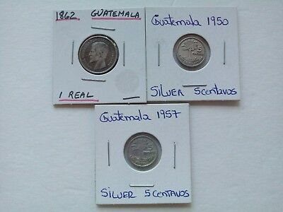 Guatemala lot of 3 Silver Coin Real 1862, 1950, 1957
